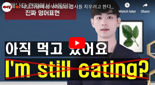식당 직원이 음식이 남은 접시를 치우려고 한다면? ('아직 먹고 있는 중이에요' 영어로?)